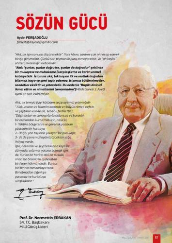 Akıl, bir işin sonunu düşünmektir... Prof. Dr. Necmettin Erbakan